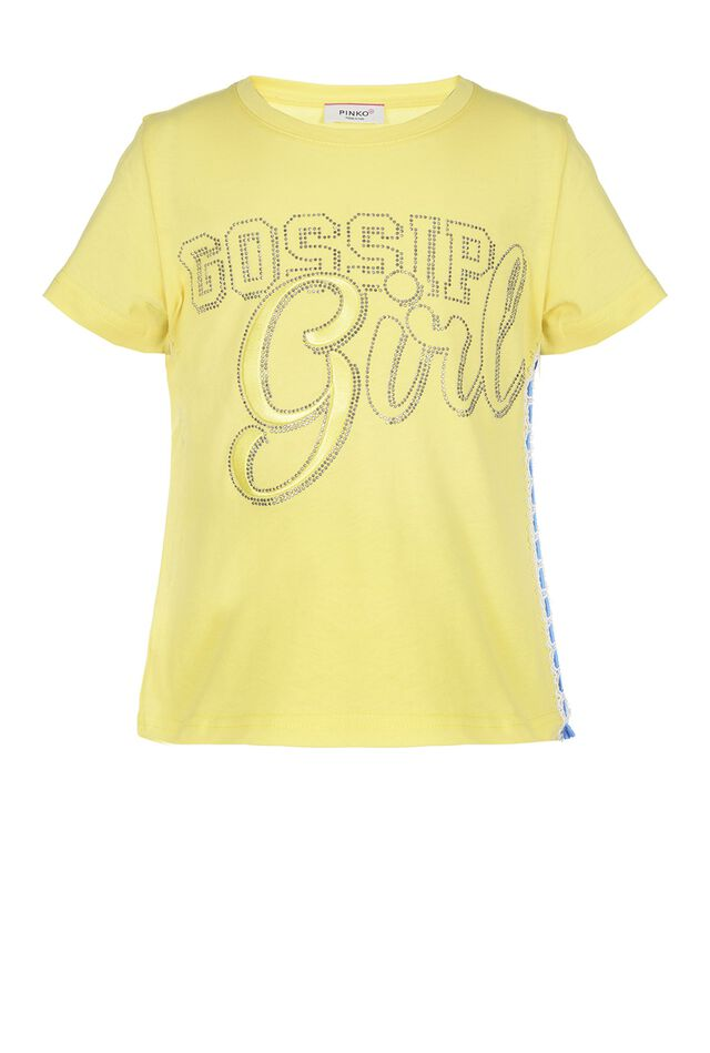 T-shirt in jersey con stampa strass