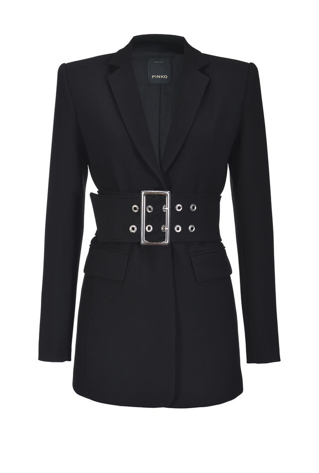 Belted blazer in technical fabric