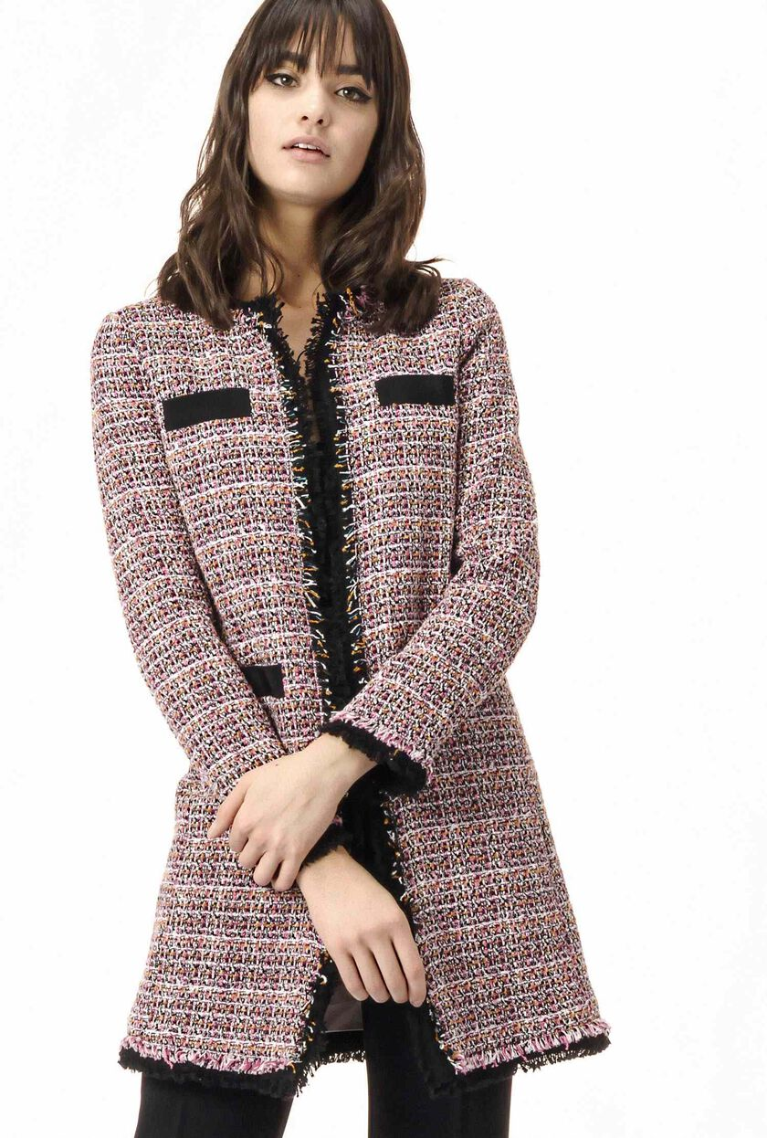Tweed overcoat with fringed edges