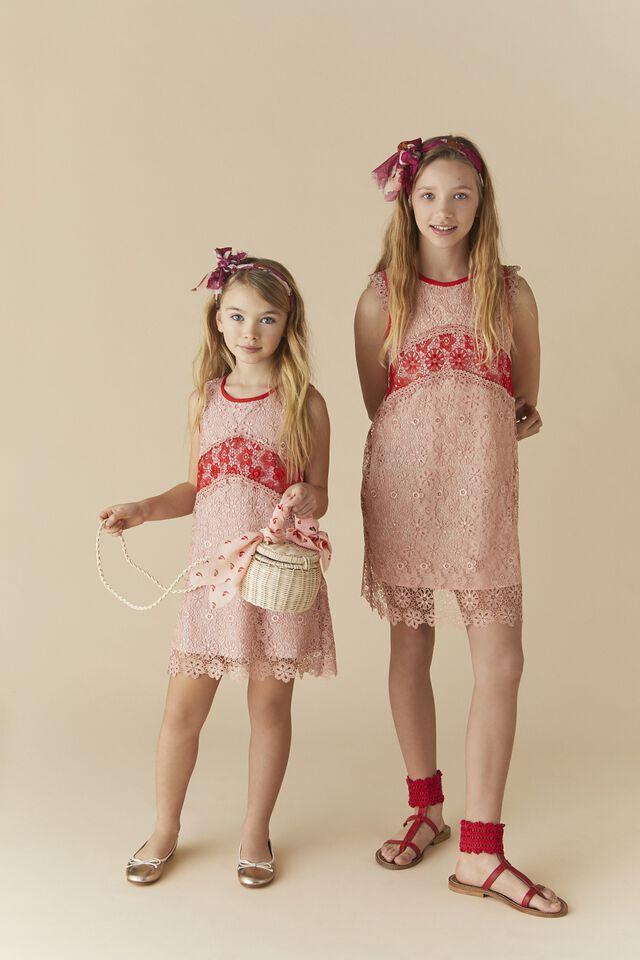 Dress in floral macramé lace