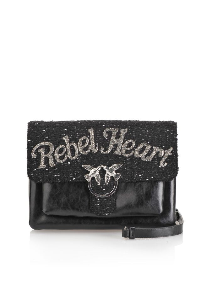Big Love Bag Soft Rebel Heart in pelle e tessuto bouclé