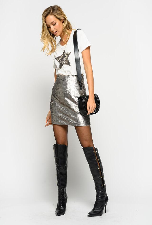 All-over sequin mini skirt