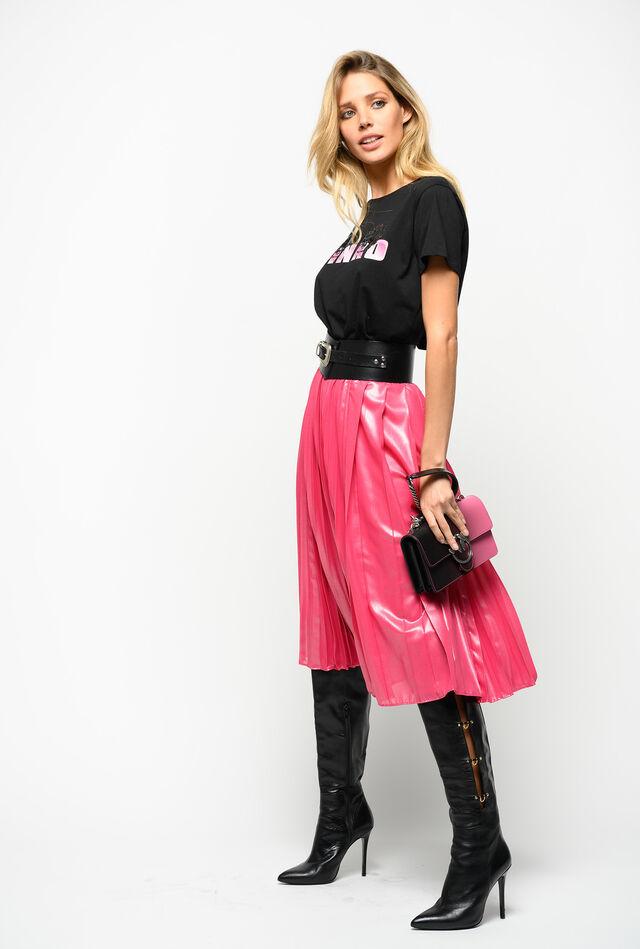 Falda plisada de georgette laminada