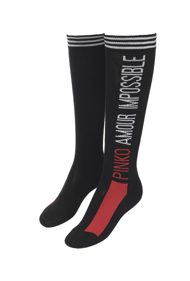 Cotton blend socks with jacquard lettering
