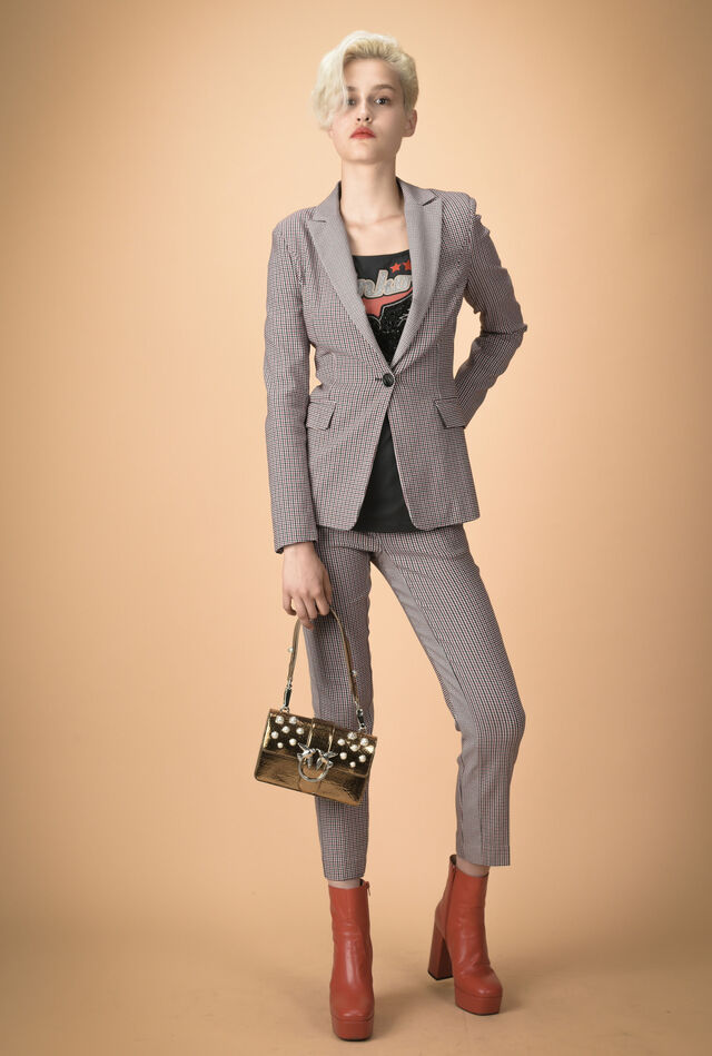 Houndstooth trousers with side band
