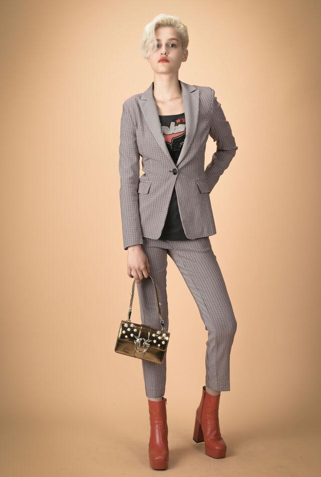 Pantaloni pied de poule con banda laterale
