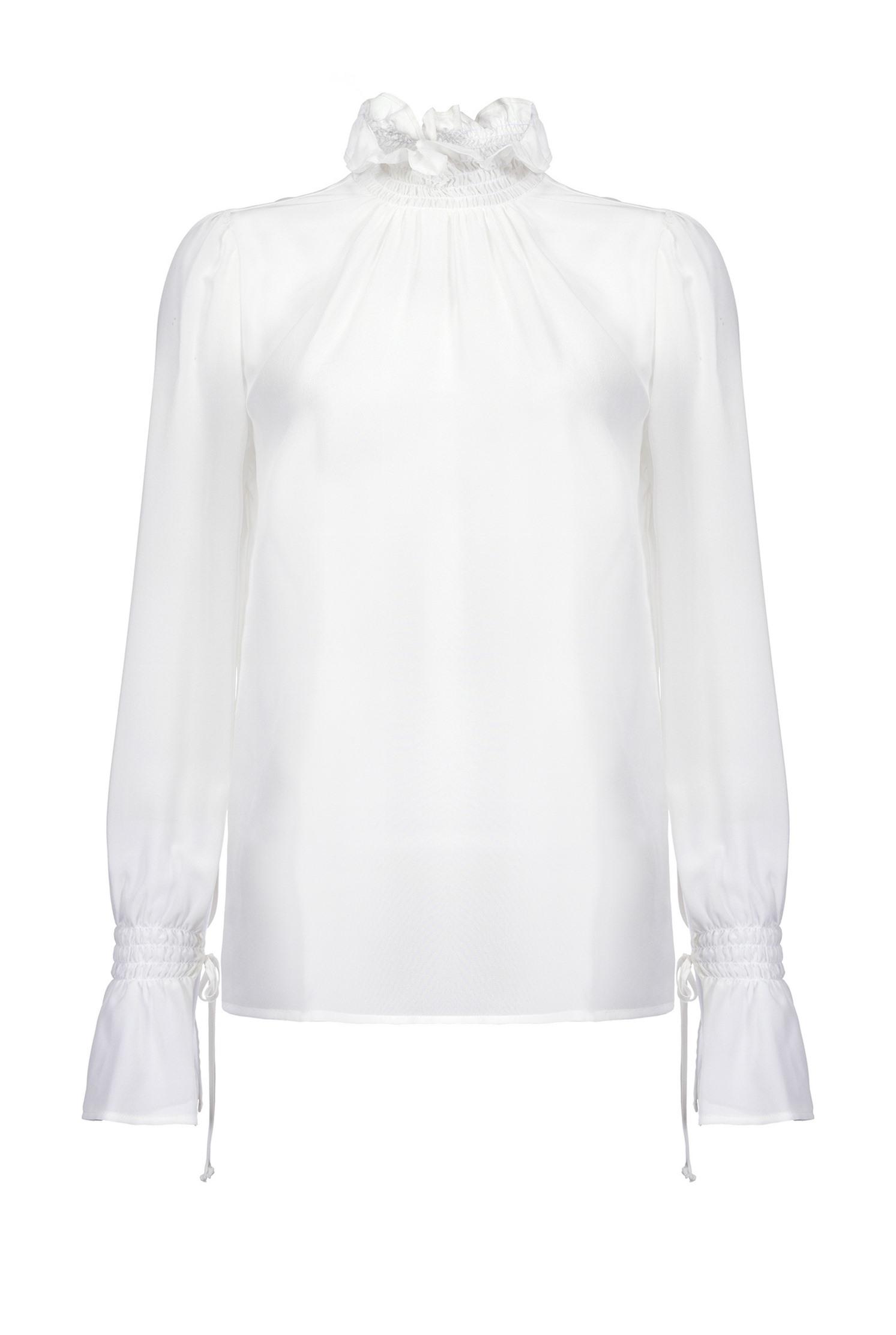 Blusa in crepe de chine lavato