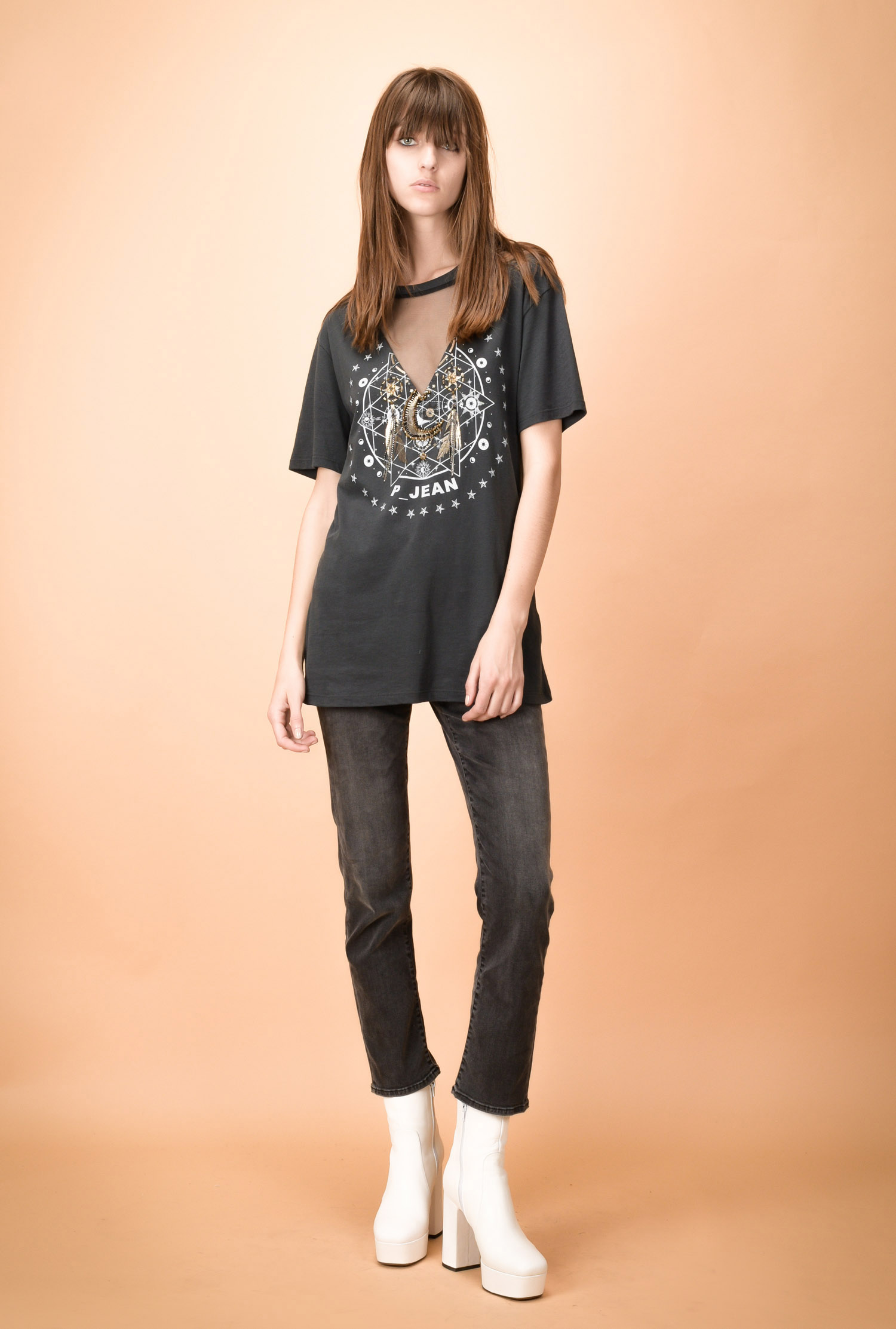 Graphic-print jersey T-shirt with tulle insert - PINKO 1328be309