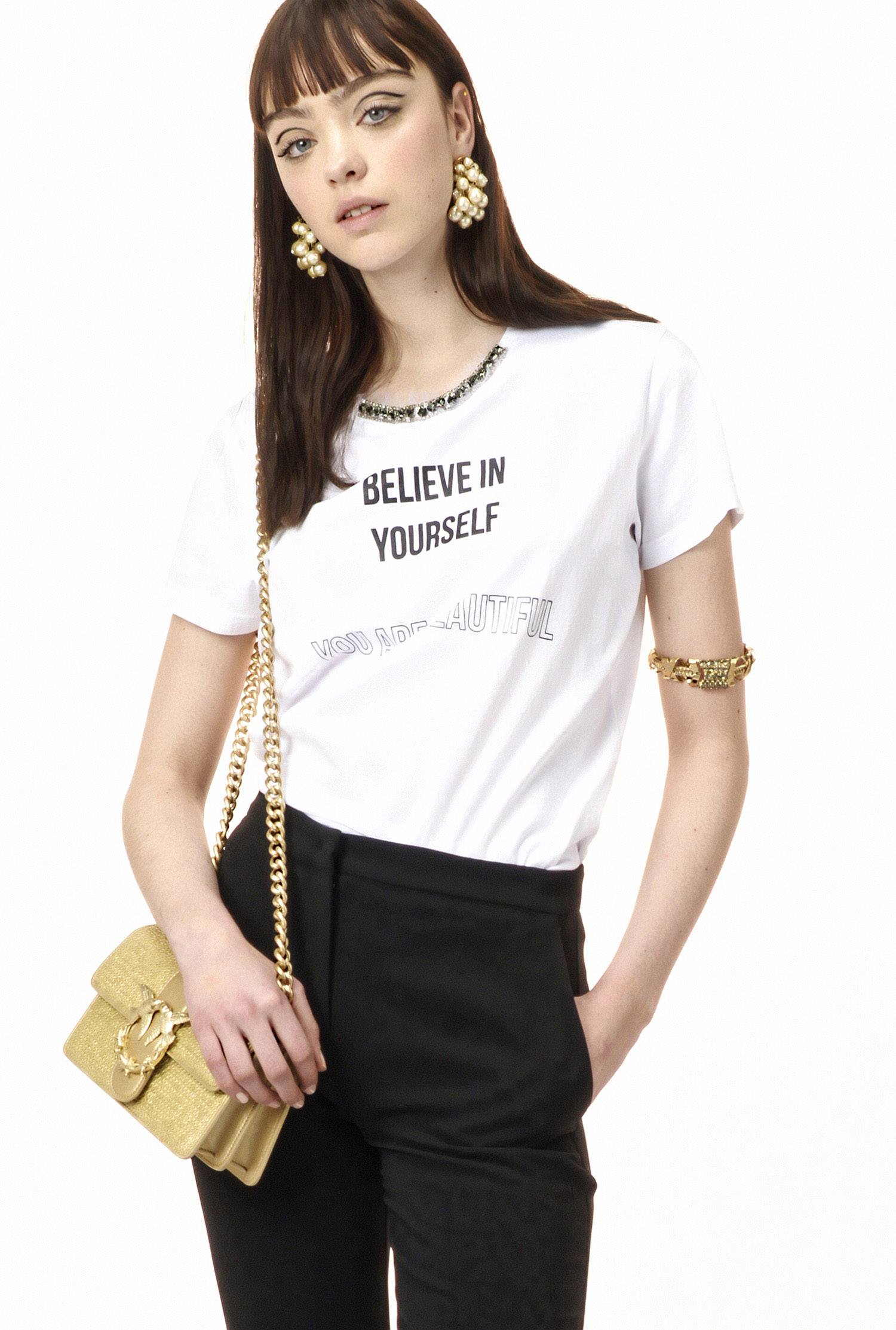 PINKO Spring-Summer 2018 women s jersey T-shirt with caption 5b0f3bcd3a3