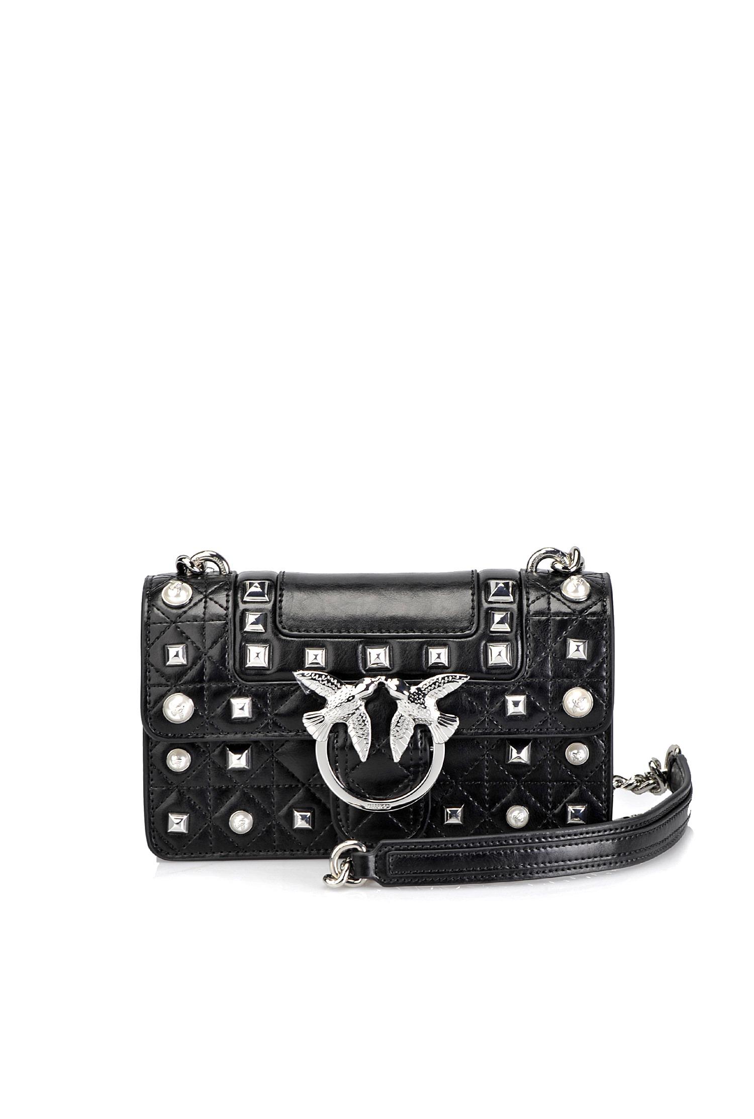 810a8cbb13 Mini Love Bag Idillio in pelle con borchie e perle - PINKO